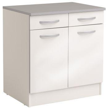 Unterteil Löffel 80 cm mit 2 Schubladen und 2 Türen - glänzend weiß