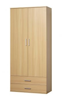 Schrank Ronny, 2 Türen, 2 Schubladen - Buche Dekor