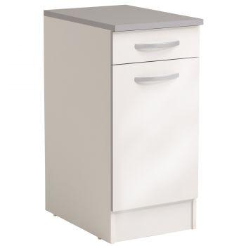 Basiseinheit Löffel 40x60 cm mit Schublade und Tür - glänzend weiß