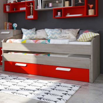 BO12 Trundle bed 2 drawers 200cm Red color