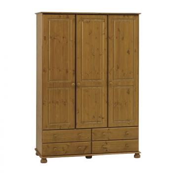 Ramund Kleiderschrank mit 3 Türen und 4 Schubladen - braun