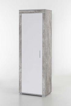Garderobenschrank Lake, mit 1 Tür - Beton / Weiß Melamin Dekor