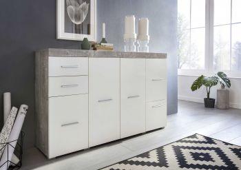 Sideboard FLINT 4-trg, mit 2 Schubladen und 1 Klappe - Korpus Beton Dekor, Front Weiß Melamin