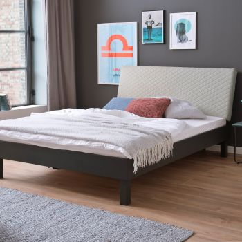 Doppelbett Visca 140x200 mit Blockfüßen - beige/grau