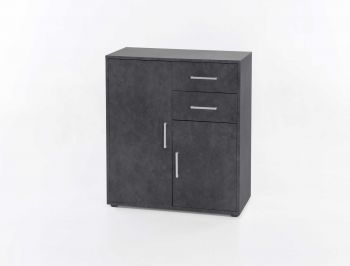 Kommode mit 2 Türen und 2 Schubladen - Melamin Graphit Dekor