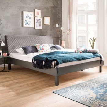 Doppelbett Visca 160x200 mit Blockfüßen - grau