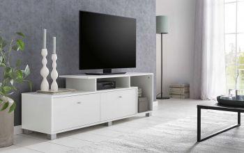 TV-Lowboard mit 2 Fächern und 3 Klappen - Korpus Weiß Dekor, Front Weiß Melamin