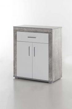 Schuhschrank/Kommode Lake, mit 2 Türen und 1 Schublade - Beton / Weiß Melamin Dekor