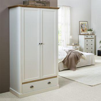 Kleiderschrank Silia 104cm mit 2 Türen und Schublade - weiß/natur