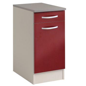 Basiseinheit Löffel 40x60 cm mit Schublade und Tür - glänzend rot