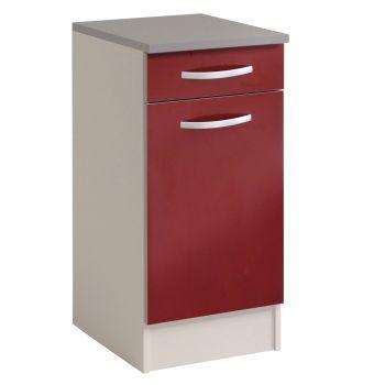 Basiseinheit Löffel 40x47 cm mit Schublade und Tür - glänzend rot