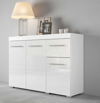 Kommode/Sideboard mit 3 Türen und 1 Schublade, Korpus Weiß mit Fronten in Hochglanz Melamin Dekor - Weiß / Weiß Hochglanz Melamin Dekor