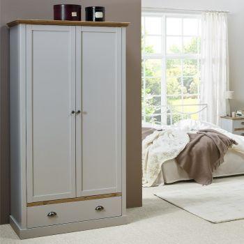 Kleiderschrank Silia 104cm mit 2 Türen und Schublade - grau/natur