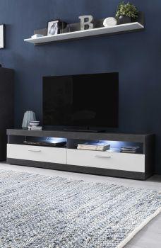 TV-Lowboard mit 2 Fächern und 2 Klappen mit RGB Beleuchtung und Farbwechsler, inkl. Wandregal - Korpus Graphit Dekor, Front Weiß Melamin
