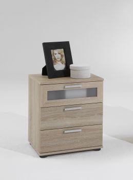 Nachttisch Jack mit 3 Schubladen - braune Eiche
