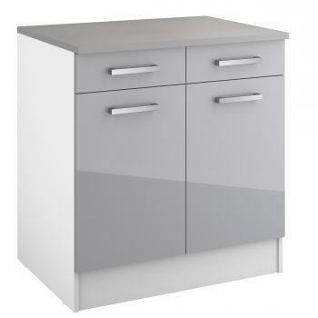 Basiseinheit Eli mit 2 Schubladen und 2 Türen - grau