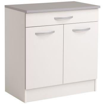 Unterteil Löffel 80 cm mit 1 Schublade und 2 Türen - weiß