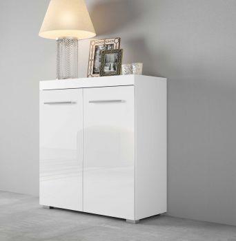 Kommode mit 2 Türen, Korpus Weiß mit Fronten in Hochglanz Melamin Dekor - Weiß / Weiß Hochglanz Melamin Dekor