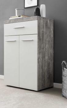 Hochkommode mit 2 Türen und 1 Schublade, Korpus Beton mit Fronten in Weiß Melamin Dekor - Beton / Weiß Melamin Dekor