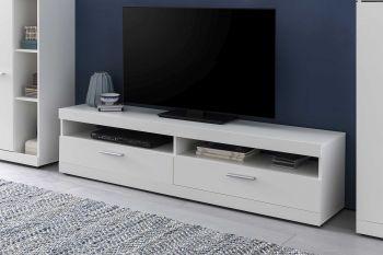TV-Lowboard mit 2 Fächern und 2 Klappen, inkl. Wandregal - Korpus Weiß Dekor, Front Weiß Melamin