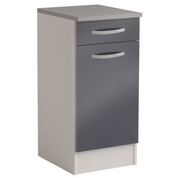 Basiseinheit Löffel 40x47 cm mit Schublade und Tür - glänzend grau