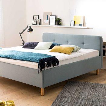 Bett Azis 180x200 mit Holzbeinen - blau/braun