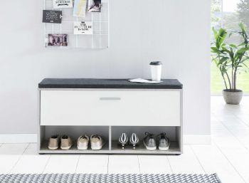 Schuhregal mit Klappe und Sitzkissen - Melamin Beton/Weiß Dekor