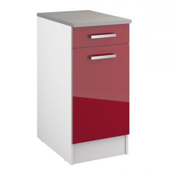 Unterschrank Eli 40 cm mit Schublade und Tür - rot