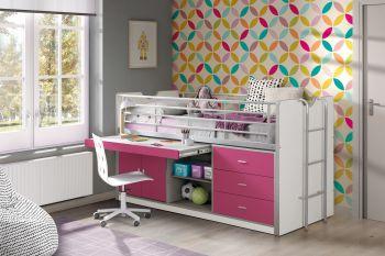 Halbhochbett mit Schreibtisch Bonny 95 - pink