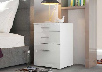 """Nachtkonsole Serie """"Bedside"""" mit 1 kleinen und 2 großen Schubladen - Weiß / Weiß Hochglanz Melamin Dekor"""