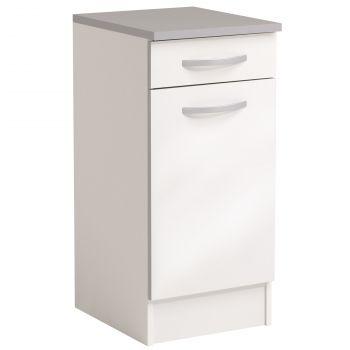 Basiseinheit Löffel 40x47 cm mit Schublade und Tür - glänzend weiß