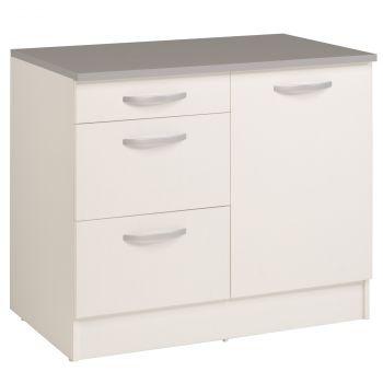 Unterschrank Eko 100 cm für Spüle mit 3 Schubladen und Tür - weiß