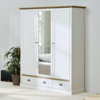 Kleiderschrank Silia 148cm mit 3 Türen und 2 Schubladen - weiß/natur