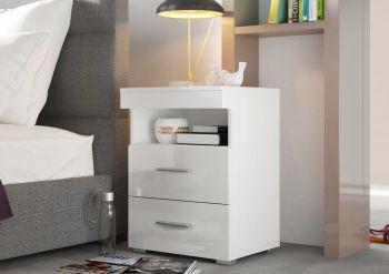 """Nachtkonsole Serie """"Bedside"""" mit 1 offenen Fach und 2 großen Schubladen - Weiß / Weiß Hochglanz Melamin Dekor"""