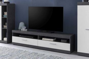 TV-Lowboard mit 2 Fächern und 2 Klappen, inkl. Wandregal - Korpus Graphit Dekor, Front Weiß Melamin