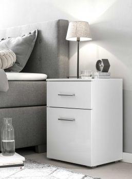 """Nachtkonsole Serie """"Bedside"""" mit 1 Schublade und 1 Tür - Weiß / Weiß Hochglanz Melamin Dekor"""