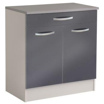 Unterteil Löffel 80 cm mit 1 Schublade und 2 Türen - glänzend grau