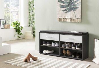 Schuhregal mit 4 Fächern, 2 Schubladen und Sitzkissen - Melamin Graphit Dekor Front Weiß