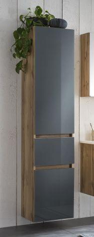 Säulenschrank Helina 40cm 2 Türen und 1 Schublade - Eiche/grau
