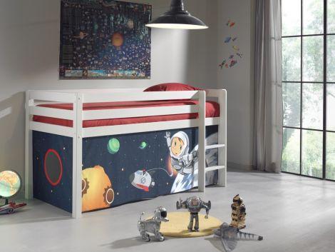 Halbhochbett Charlotte weiß mit Spielzelt Weltraum