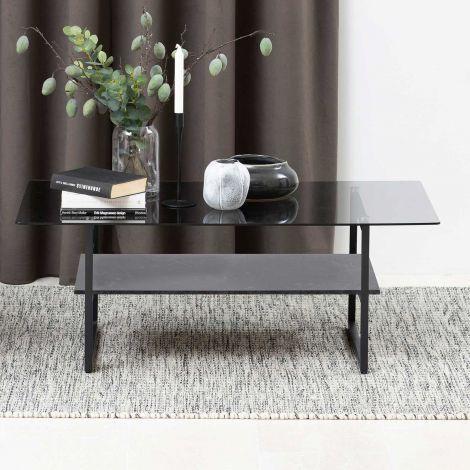 Okaya coffee table,glass table - matt black, clear