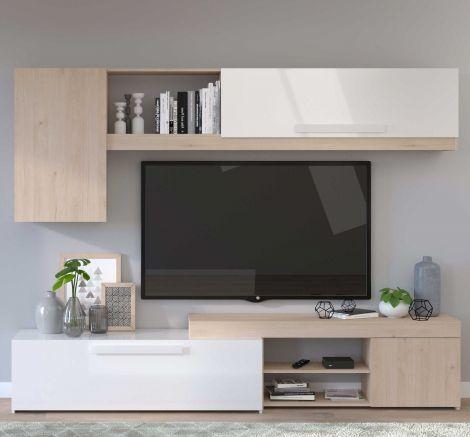 TV-Möbel Live 250cm - Eiche/Hochglanz-weiß