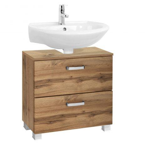 Waschbeckenschrank Bobbi 60cm 1 Tür und 1 Softclose-Schublade - Eiche