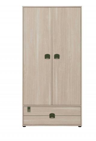Kleiderschrank Jones 94cm mit 2 Türen 1 Schublade - Eiche hell
