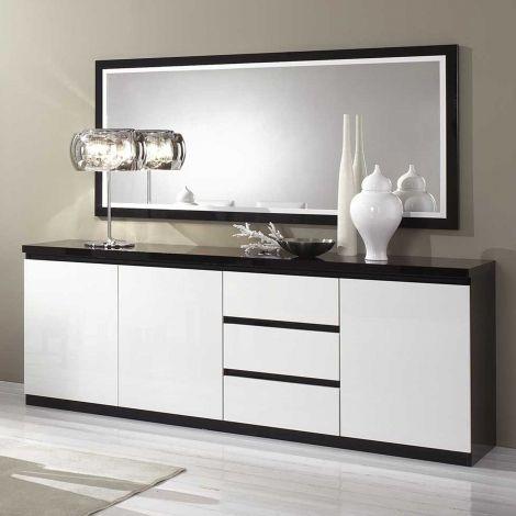 Sideboard Roma 3 Türen und 3 Schubladen - schwarz/weiß