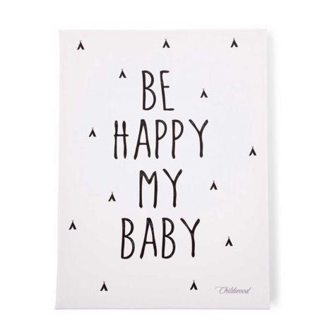 Gemälde Be Happy My Baby 30x40cm - schwarz und weiß