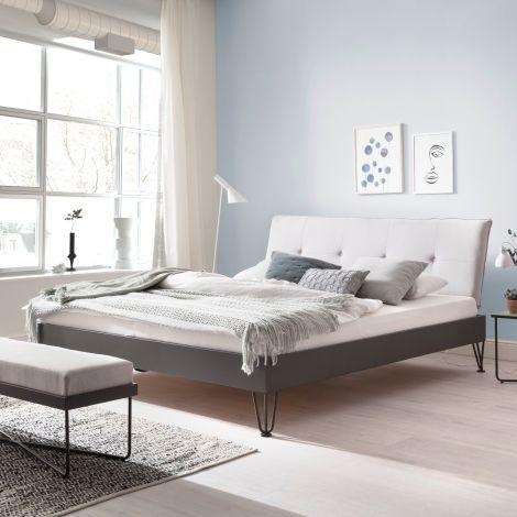 Doppelbett Bastos 140x200 mit Haarnadelfüßen - beige/grau