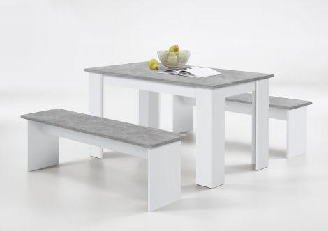 Set Esstisch 2 Bänke Mundo - Beton/Weiß