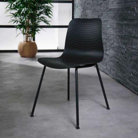 Stuhl PP pulverbeschichtetes Gestell - Set von 4 - Schwarz