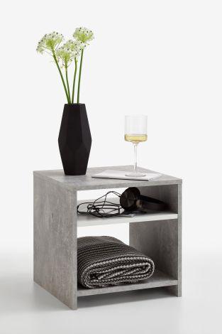 Beistelltisch Linn - Beton/Weiß